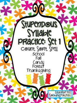 Stupendous Syllable Counting & Spelling Practice Set 1