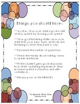 Stuttering Help: Parent letter & Positive Feedback cards