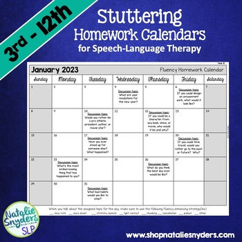 Stuttering Homework Calendars For Slps By Natalie Snyders | Tpt