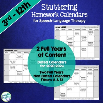 Stuttering Homework Calendars For Slps By Natalie Snyders  Tpt