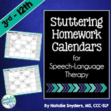 Stuttering Homework Calendars for SLPs
