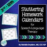 Stuttering Homework Calendars for SLPs