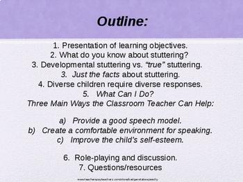 Fully Editable Stuttering (Fluency) In-Service for Classroom Teachers