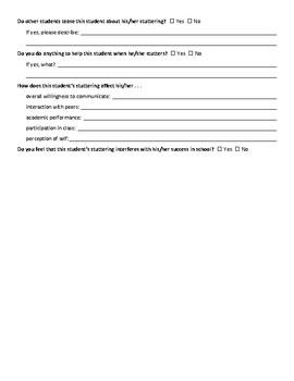 Stuttering Questionnaires for Parents and Teachers
