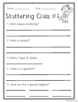 Stuttering Quizzes for Speech Therapy