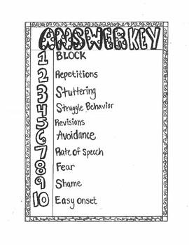 Stuttering Vocabulary + Practice+ Key!