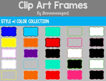 Style #1 Color Clipart Frames - 375 Different Frames - 15 Different Colors