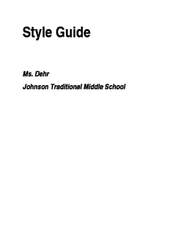 Style Guide for citing sources