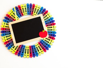 Stock Photo: Classroom Crayon Wreath & Chalkboard #2-Personal & Commercial Use