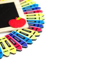 Stock Photo: Classroom Crayon Wreath & Chalkboard #3-Perso