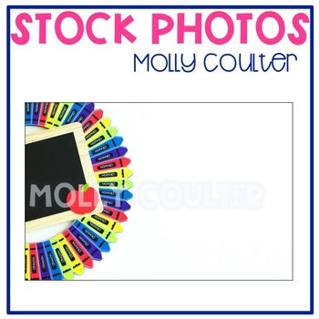 Stock Photo: Classroom Crayon Wreath & Chalkboard #1-Personal & Commercial Use