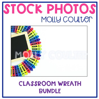 BUNDLE Stock Photo: Classroom Crayon Wreath-Personal & Com