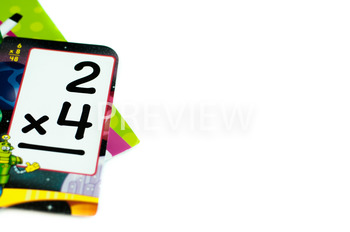 Stock Photo: Math Multiplication Flashcards #3 -Personal &