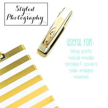 Styled Stock Photo: Desk - black and gold set 1 (Comm Use OK)
