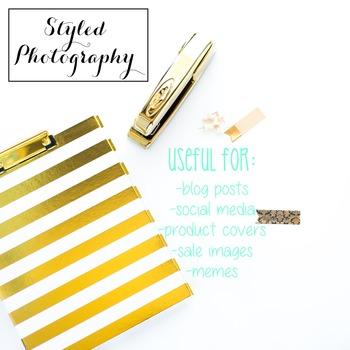 Styled Stock Photo: Desk - black and gold set 2 (Comm Use OK)