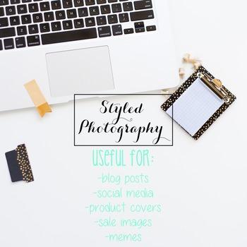 Styled Photography: Desk - black and gold set 3 (Comm Use OK)