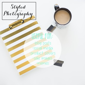 Styled Stock Photo: Desk - black and gold set 5 (Comm Use OK)