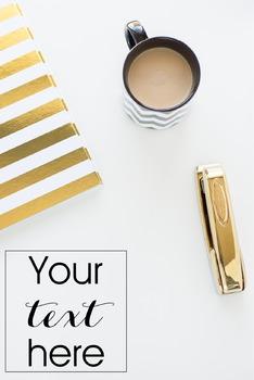 Styled Stock Photo: Desk - black and gold set 6 (Comm Use OK)