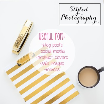 Styled Stock Photo: Desk - black and gold set 7 (Comm Use OK)