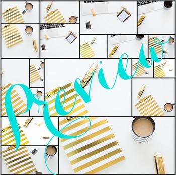 Styled Stock Photo: Desk BUNDLE - black & gold (Comm Use OK)