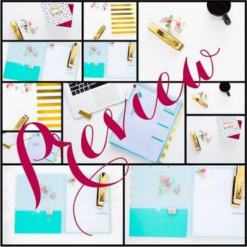Styled Stock Photo: Desk BUNDLE - black/gold/mint/pink (Comm Use OK)