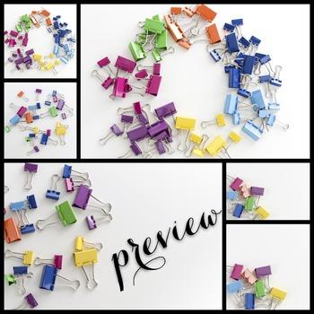 Styled Stock Photo: Office Supplies BUNDLE - Rainbow (Comm Use OK)