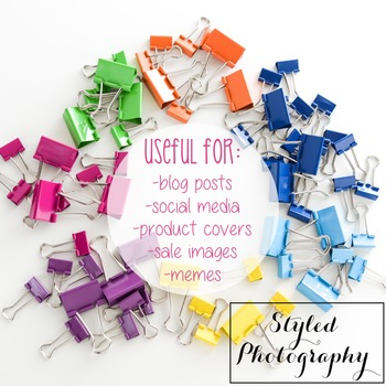 Styled Stock Photo: Office Supplies - Rainbow  set 3 (Comm Use OK)