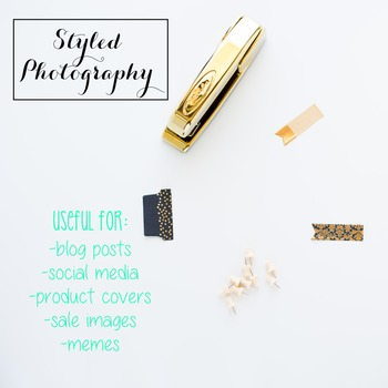 Styled Stock Photo: Office Supplies BUNDLE - black/gold/mint/pink (Comm Use OK)
