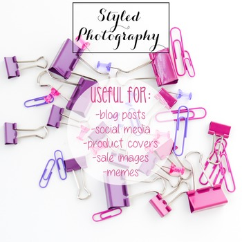 Styled Stock Photo: Office Supplies pink and purple (Comm Use OK)