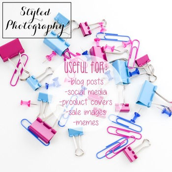 Styled Stock Photo: Office Supplies pink and teal (Comm Use OK)