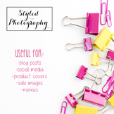 Styled Stock Photo: Office Supplies pink and yellow (Comm Use OK)