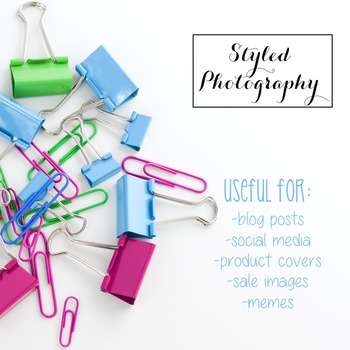Styled Stock Photo: Office Supplies pink, green, and teal (Comm Use OK)