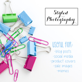 Styled Stock Photo: Office Supplies pink, green, and teal