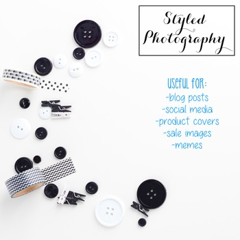 Styled Photography: Office Supplies set 1 - Black/White (C