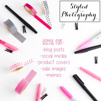Styled Stock Photo: Office Supplies set 2 - Pink/Black/Gol