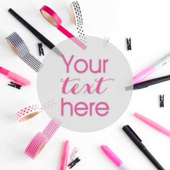Styled Stock Photo: Office Supplies set 2 - Pink/Black/Gold (Comm Use OK)