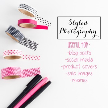 Styled Stock Photo: Office Supplies set 3 - Pink/Black (Comm Use OK)
