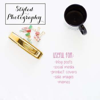 Styled Stock Photo: Office Supplies set 3 - black/gold/mint/pink (Comm Use OK)