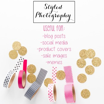Styled Stock Photo: Office Supplies set 4 - Pink/Black/Gold (Comm Use OK)