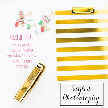 Styled Stock Photo: Office Supplies set 4 - pink/gold/mint (Comm Use OK)
