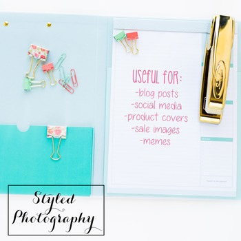 Styled Stock Photo: Office Supplies set 5 - pink/gold/mint (Comm Use OK)