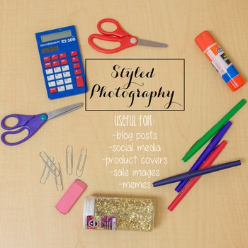 Styled Stock Photo: Wood desk with school supplies (Comm Use OK)