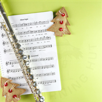 Styled Stock Photo 43 [Flute, music sheet and Christmas ornaments]