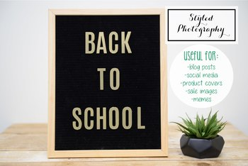 """Styled Stock Photo: Felt Letterboard """"Back to School"""" (Comm Use OK)"""
