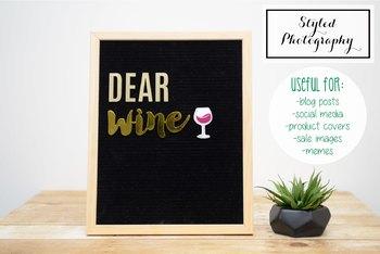 """Styled Stock Photo: Felt Letterboard """"Dear Wine"""" (Comm Use OK)"""