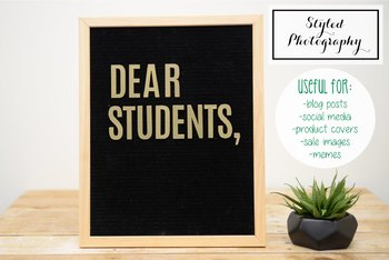 "Styled Stock Photo: Felt Letterboard ""Dear Students"" (Comm Use OK)"