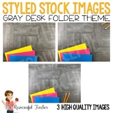 Styled Stock Photos: Gray Teacher Desk Folders Theme - Pro