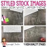 Styled Stock Photos: Gray Teacher Desk White Laptop - Prod