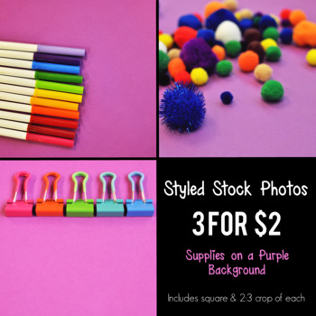 Styled Stock Photos - Supplies on a Purple Background