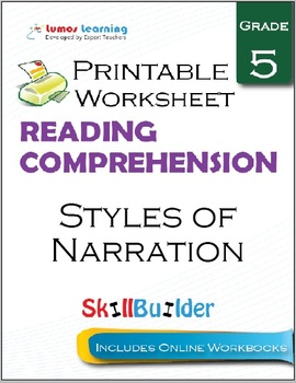 Styles of Narration Printable Worksheet, Grade 5